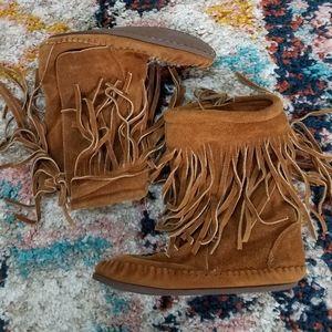 Vintage Taos Brown Suede Fringe Moccasin Bootie